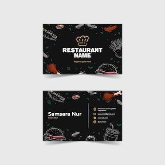Modelo de cartão de negócio de restaurante ilustrado