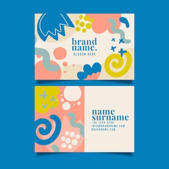 Modelo de cartão de negócios abstrato de dupla face horizontal desenhado à mão