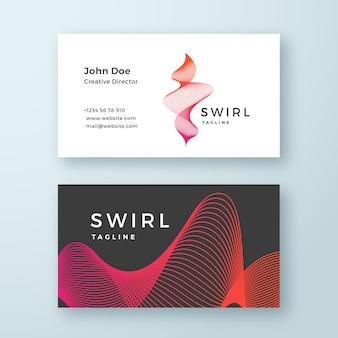 Modelo de cartão de negócios abstrato redemoinho de mistura. linhas curvas elegantes com layout estacionário de gradiente vermelho e rosa brilhante. sombras suaves.