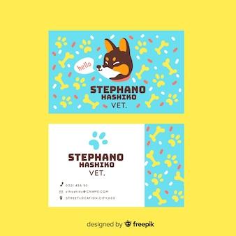 Modelo de cartão de negócios animal personagem kawaii