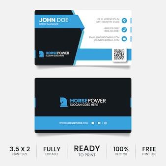 Modelo de cartão de negócios azul e preto criativo