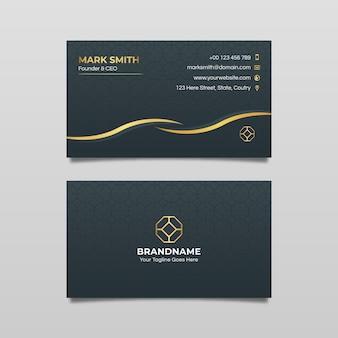 Modelo de cartão de negócios com detalhes dourados
