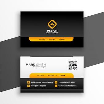 Modelo de cartão de negócios corporativo amarelo elegante