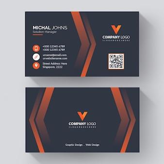 Modelo de cartão de negócios corporativo moderno com cartão de visita criativo moderno, com detalhes laranja