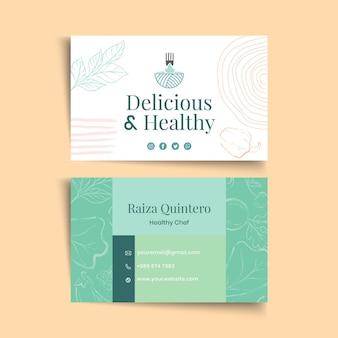 Modelo de cartão de negócios de alimentos biológicos e saudáveis