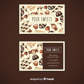 Modelo de cartão de negócios de doces em aquarela