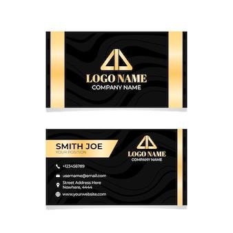 Modelo de cartão de negócios de linhas de folha dourada