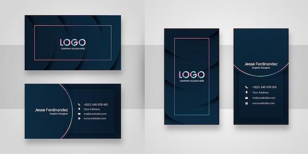 Modelo de cartão de negócios de luxo elegante azul profundo