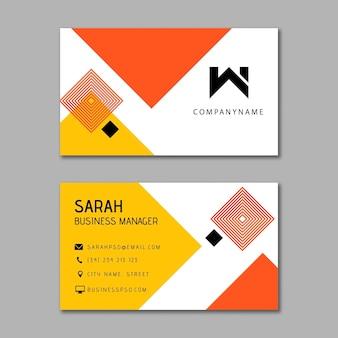 Modelo de cartão de negócios de mulher de negócios