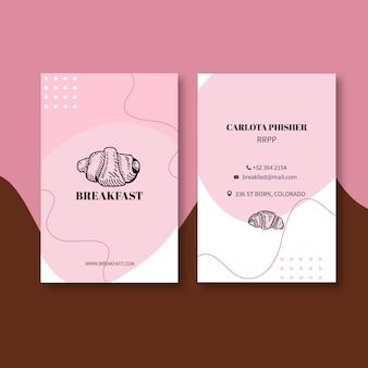 Modelo de cartão de negócios de restaurante de café da manhã
