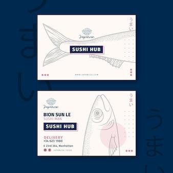 Modelo de cartão de negócios de restaurante japonês