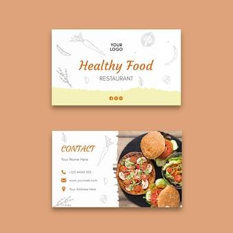 Modelo de cartão de negócios de restaurante saudável