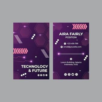 Modelo de cartão de negócios de tecnologia e futuro