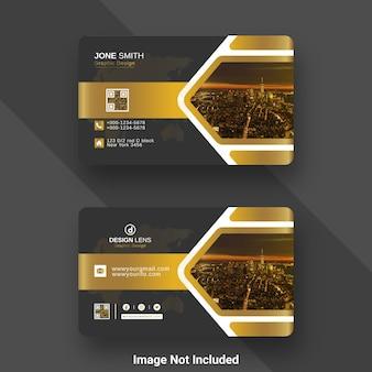 Modelo de cartão de negócios digital corporativo de luxo golden gradient