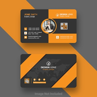 Modelo de cartão de negócios digital corporativo em preto e laranja