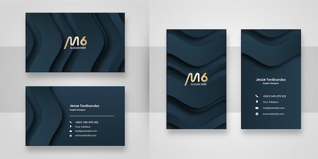 Modelo de cartão de negócios em camadas cinza escuro elegante