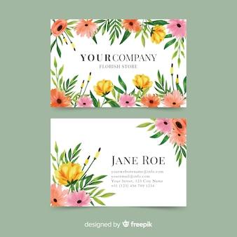 Modelo de cartão de negócios floral aquarela elegante