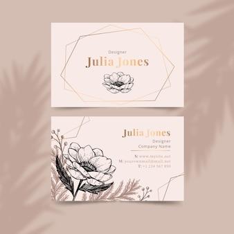 Modelo de cartão de negócios floral empate realista