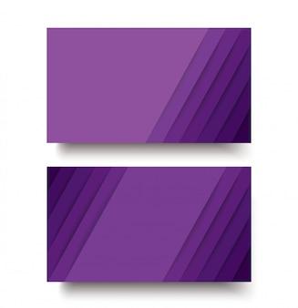Modelo de cartão de negócios frente e verso moderno das linhas roxas