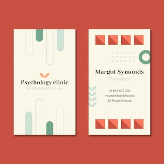 Modelo de cartão de negócios frente e verso psicologia Vetor Premium