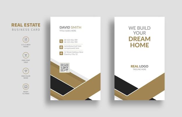 Modelo de cartão de negócios imobiliário com estilo vertical