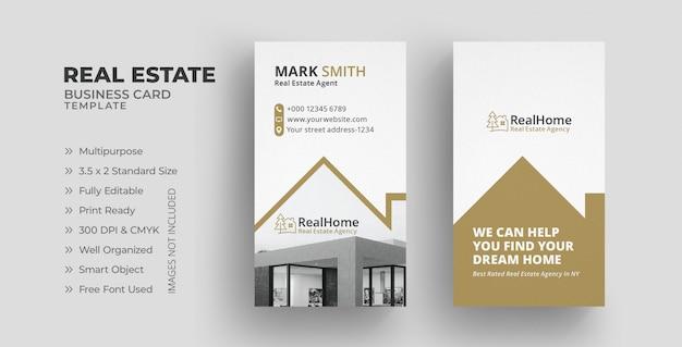 Modelo de cartão de negócios imobiliários com vertical