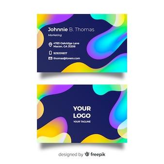 Modelo de cartão de negócios líquido colorido