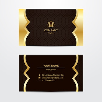 Modelo de cartão de negócios luxuoso dourado