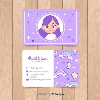 Modelo de cartão de negócios mão desenhada kawaii