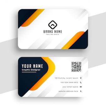 Modelo de cartão de negócios moderno amarelo elegante