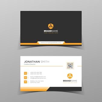 Modelo de cartão de negócios moderno cores laranja design plano e simples