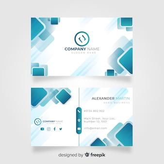 Modelo de cartão de negócios moderno criativo com formas azuis