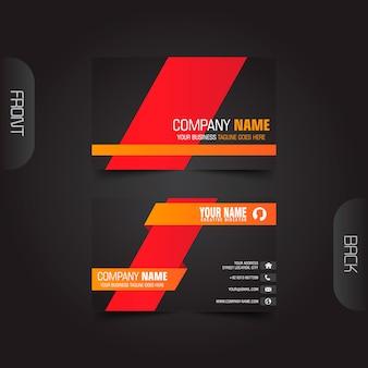 Modelo de cartão de negócios moderno criativo e limpo escuro Vetor Premium