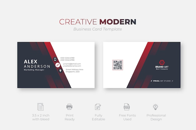 Modelo de cartão de negócios moderno criativo