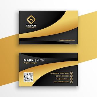 Modelo de cartão de negócios moderno preto e dourado