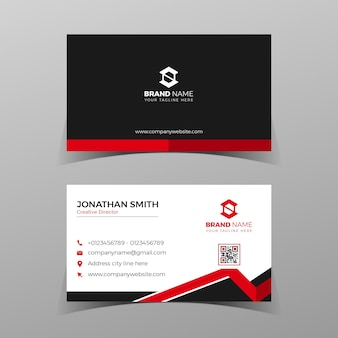 Modelo de cartão de negócios moderno projeto de composição de elemento elegante com conceito limpo