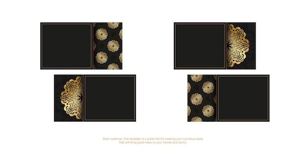 Modelo de cartão de negócios preto com padrão grego dourado