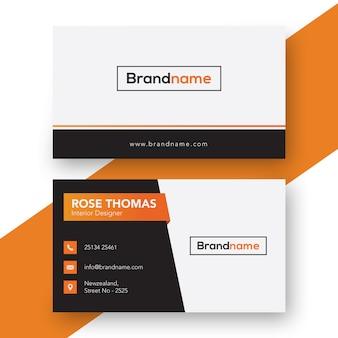 Modelo de cartão de negócios preto e laranja