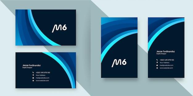 Modelo de cartão de negócios profissional moderno em camadas estilo azul escuro