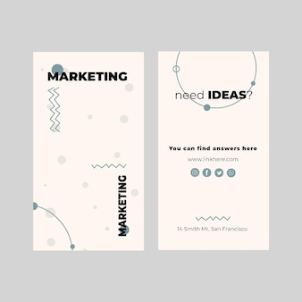 Modelo de cartão de negócios vertical de marketing