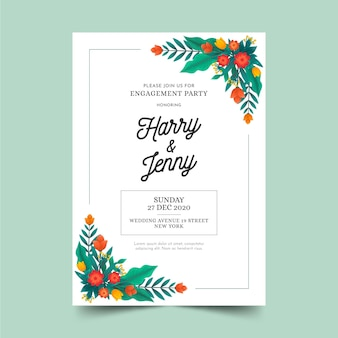 Modelo de cartão de noivado com motivos florais