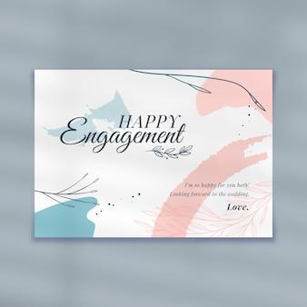 Modelo de cartão de noivado feliz