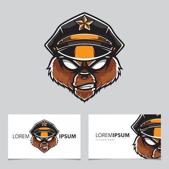Modelo de cartão de nome do logotipo da cabeça de polícia