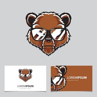 Modelo de cartão de nome do logotipo da cabeça de urso