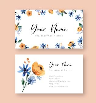 Modelo de cartão de nome floral amarelo e azul em aquarela