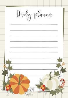Modelo de cartão de planejador diário.