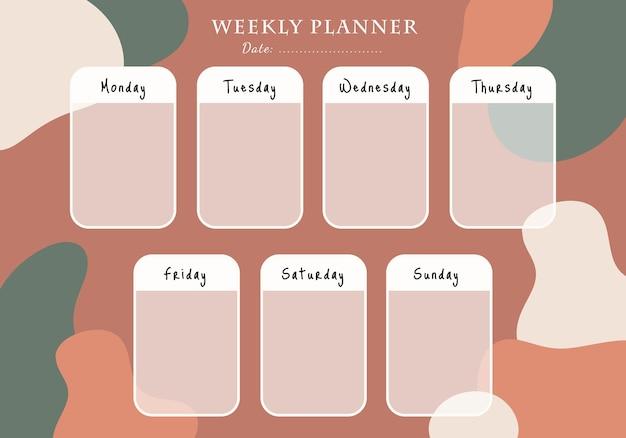 Modelo de cartão de planejador semanal com fundo de forma abstrata desenhada à mão para impressão