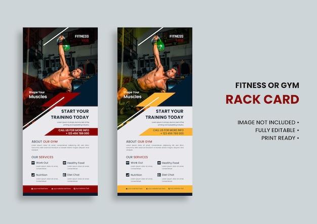 Modelo de cartão de prateleira de ginástica e fitness