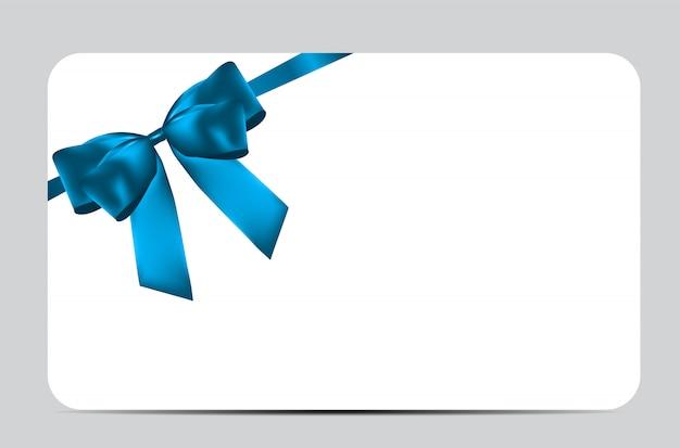 Modelo de cartão de presente com laço azul e fita