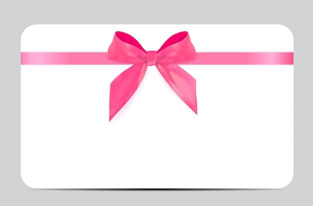 Modelo de cartão de presente em branco com laço rosa e fita
